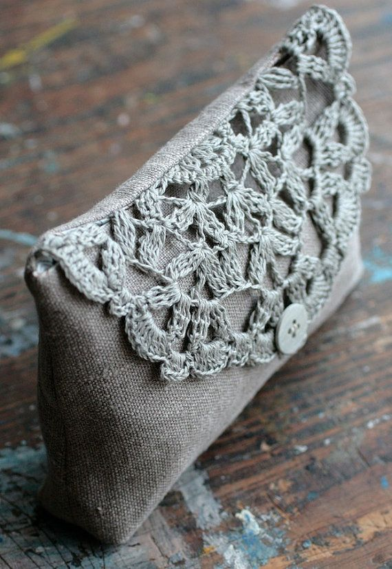 Crochet + linen fabric have always been beautiful together, since the earliest examples of crochet lace. Modern linen clutch, pouch, purse, makeup bag -- crocheted detail closure (Etsy)