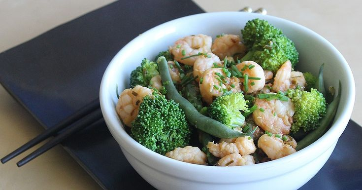shrimp, broc, green bean stir fry