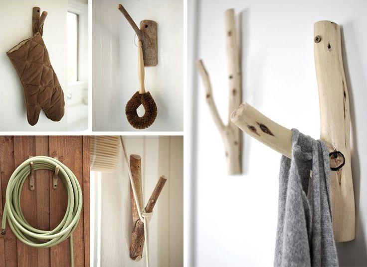 DIY manualidades - Percheros de pared con ramas de árbol