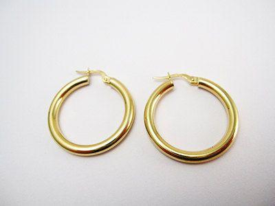 Gold Hoop Earrings Large Thick 1 Inch Diameter Hoops Solid