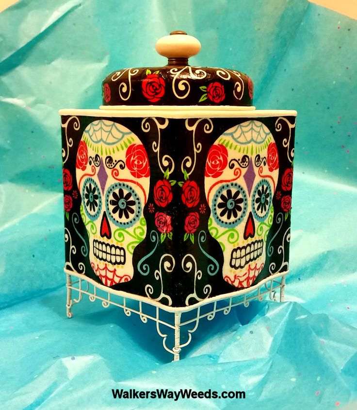 Sugar Skull-Reliquary Tin-Decoupage napkin-handmade from recycled materials-OOAK by WalkersWayWeeds on Etsy