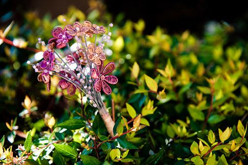 Wire Art: Pink and copper wire wedding bouquet by Sarah Jansma