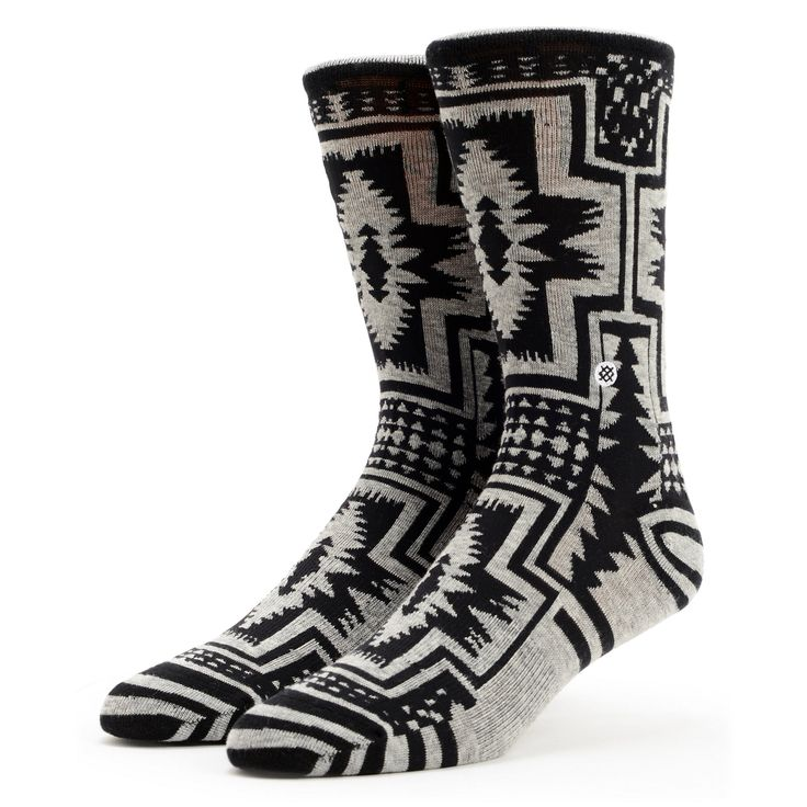 Stance Girls Santiago Black & Grey Native Print Crew Socks at Zumiez : PDP