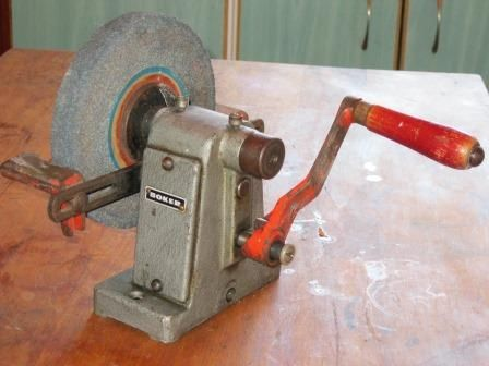 Vintage Industrial Hand Crank Bench Grinder Knife