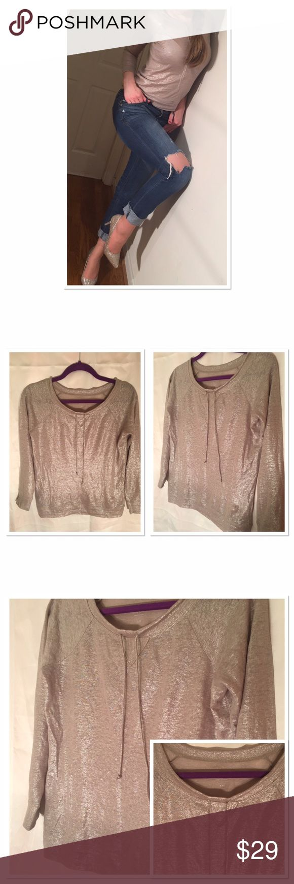 Metallic 100% linen long sleeve J. Crew casual top Casual parties, outings with friends you name it! This top can be dressed up or down. Wonderful J. Crew quality metallic shine breathable material. Drawstring collar. Comfortable fit for size S- label XSS. Worn once, excellent condition. Bring a little sparkle to everyday's life! J. Crew Tops Tees - Long Sleeve