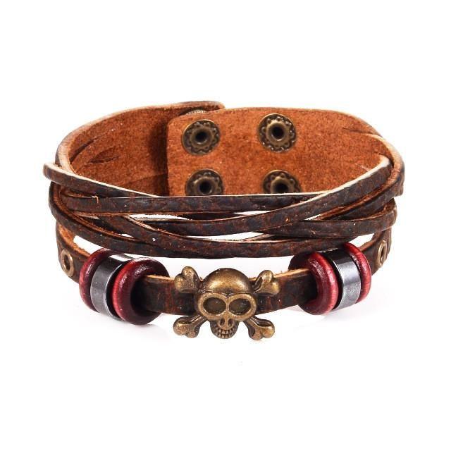 Skull Charm Cuff Leather Bracelet