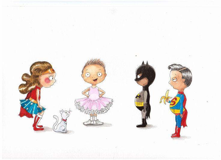kids, children, superheroes, batman, superman, wonderwoman, ballerina, illustration, children's books, picture books