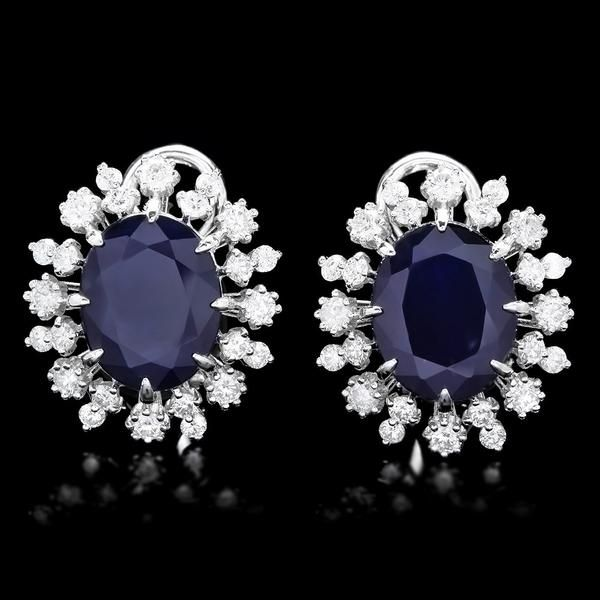 14k white gold 12ct sapphire 2.25ct diamond earrings