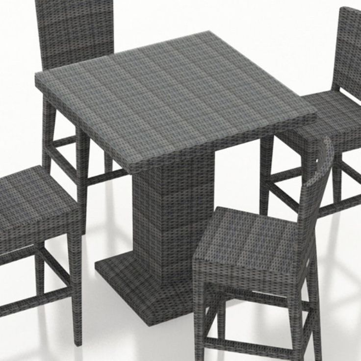 outdoor harmonia living district resin wicker square bar height patio dining table hldis