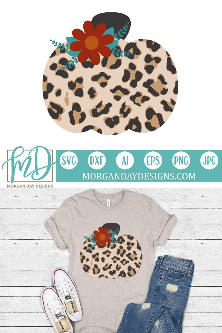 Leopard Floral Pumpkin SVG Vinyl crafts, Cricut design