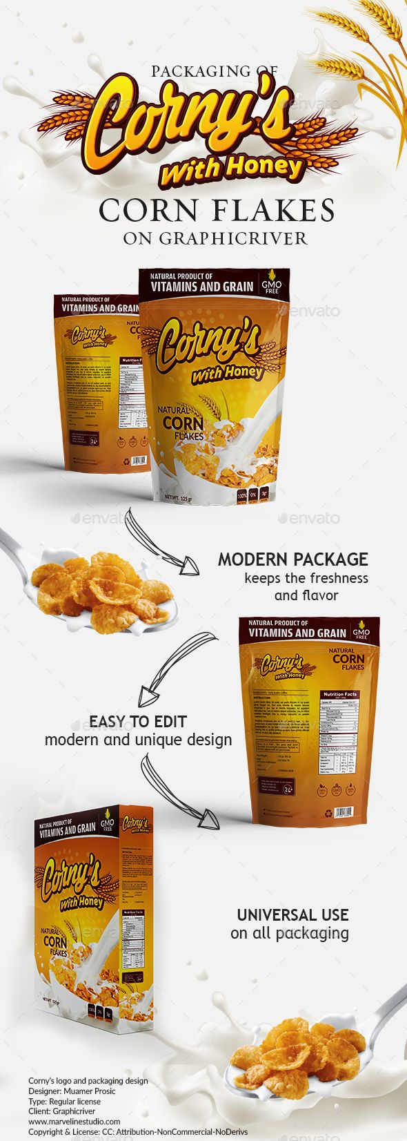 Corny's packaging template( Honey edition) - #Packaging Print #Templates Download here: https://graphicriver.net/item/cornys-packaging-template-honey-edition/19435113?ref=alena994