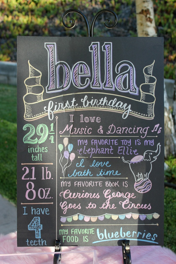 """first birthday poster - cuteidea,  Can also be used for a birth announcement, """"Party is here sign"""". or whatever you want to communicate on it."""