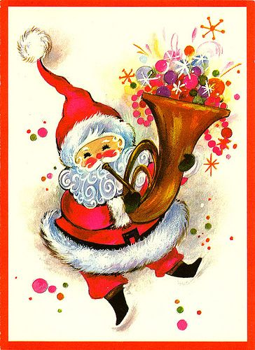 Vintage Santa Christmas Card 1960s