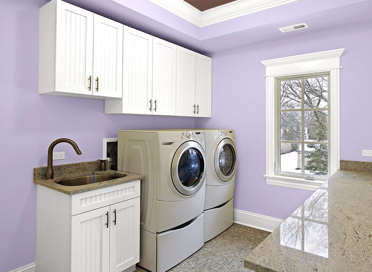 Yellow Laundry With Utility Sink White Cabinets White Front Loading Washer Dryer Homeclick Community
