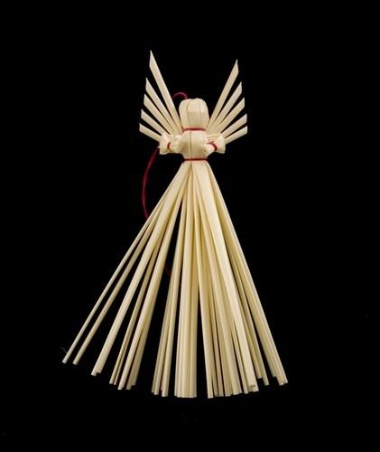 Straw Angel - Aniolek, Large -  Polish folk art straw angel ornaments made by a single family in Lublin.