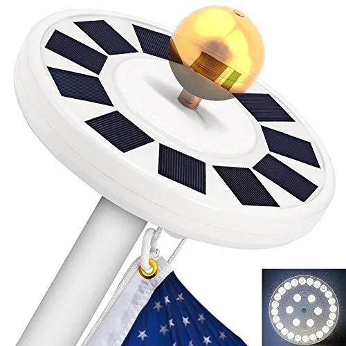 TOTOBAY 30 LED Solar Power Flag Pole Lights, {Upgraded Version} Weatherproof Flagpole Downlight for Most 15 to 25 Ft Auto On/Off Night Lighting- Price