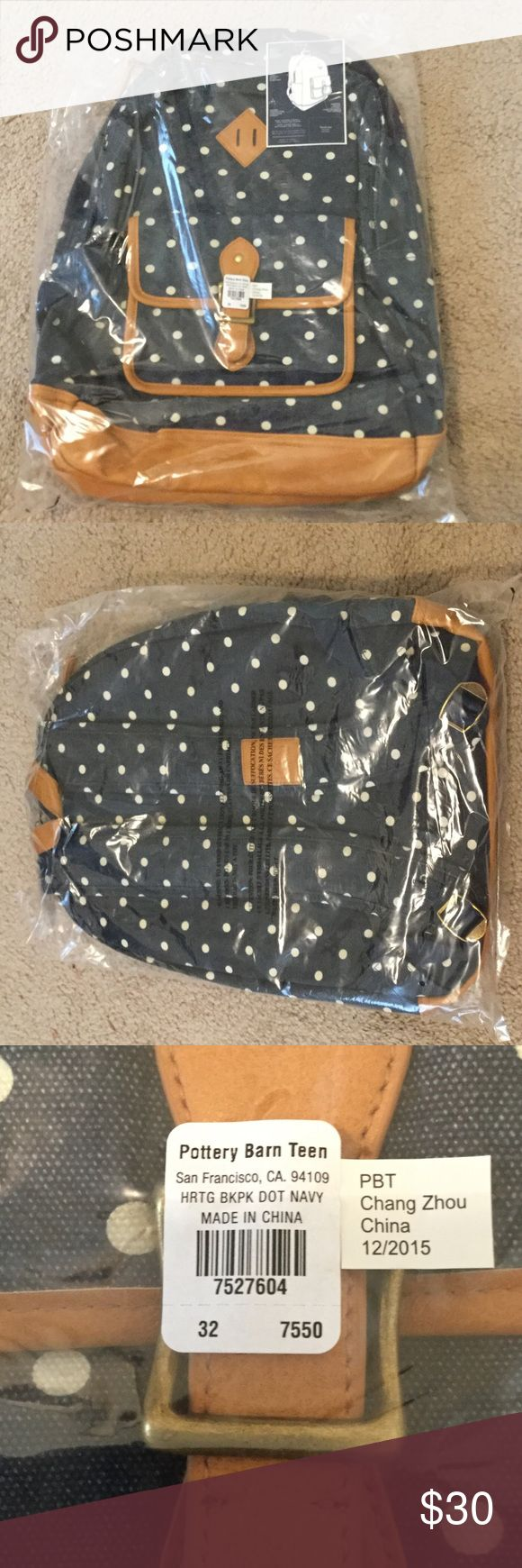 Brand new Pottery Barn Teen Backpack NWT still in the packaging PB teen backpack. Navy with white polka dots and brown leather trim, perfect for back to school! Pottery Barn Teen Bags Backpacks