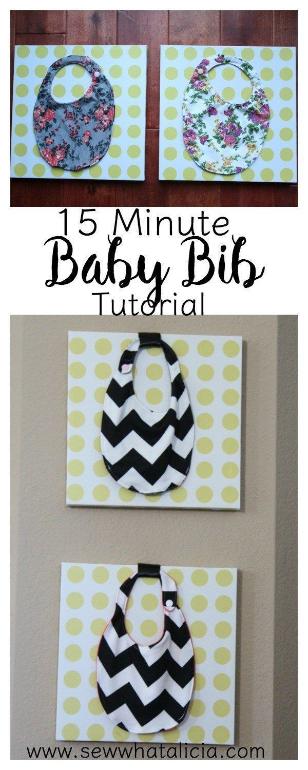 15 Minute Baby Bibs Tutorial: This quick sewing project is great for beginners. Click through to see the full tutorial and a video walkthrough! These would make great gifts for a new baby.   www.sewwhatalicia.com