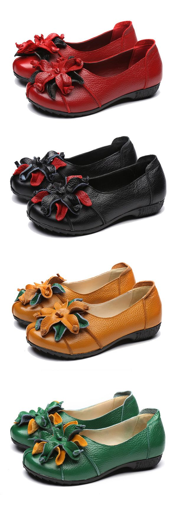 US$28.85 SOCOFY Retro Handmade Flower Soft Flat Casual Leather Loafers
