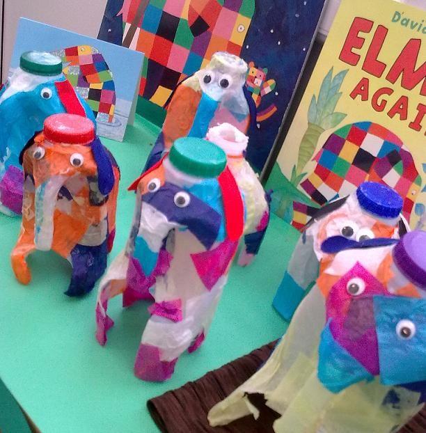Elmer models from plastic milk bottles.