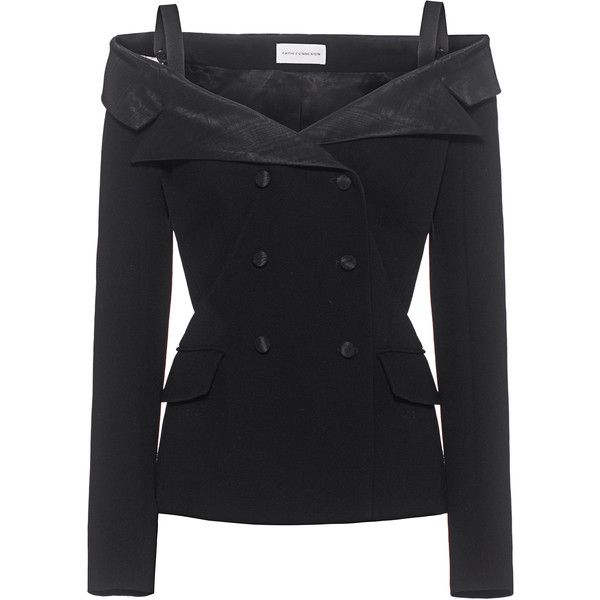 FAITH CONNEXION Serge Sailor Jacket Black // Strapless jacket (4.390 RON) ❤ liked on Polyvore featuring outerwear, jackets, lapel jacket, faith connexion, sailor jacket, collar jacket and faith connexion jacket