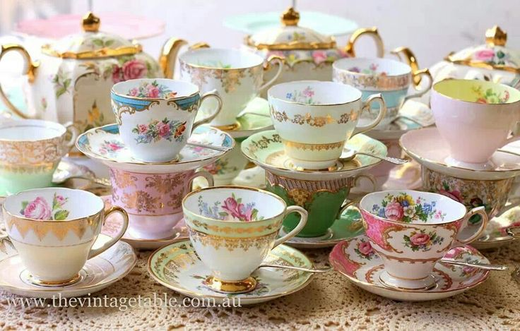 Gorgeous vintage china cups and saucers.