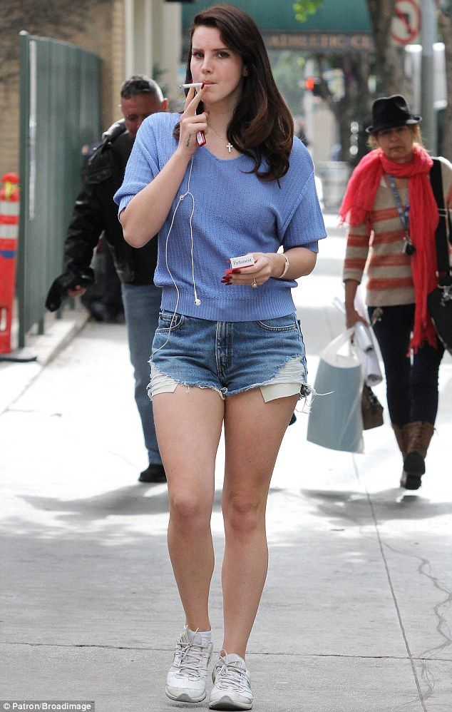 LANA DEL REY in Jeans Shorts Out for a Coffee at Bruno Cafe in Los Angeles