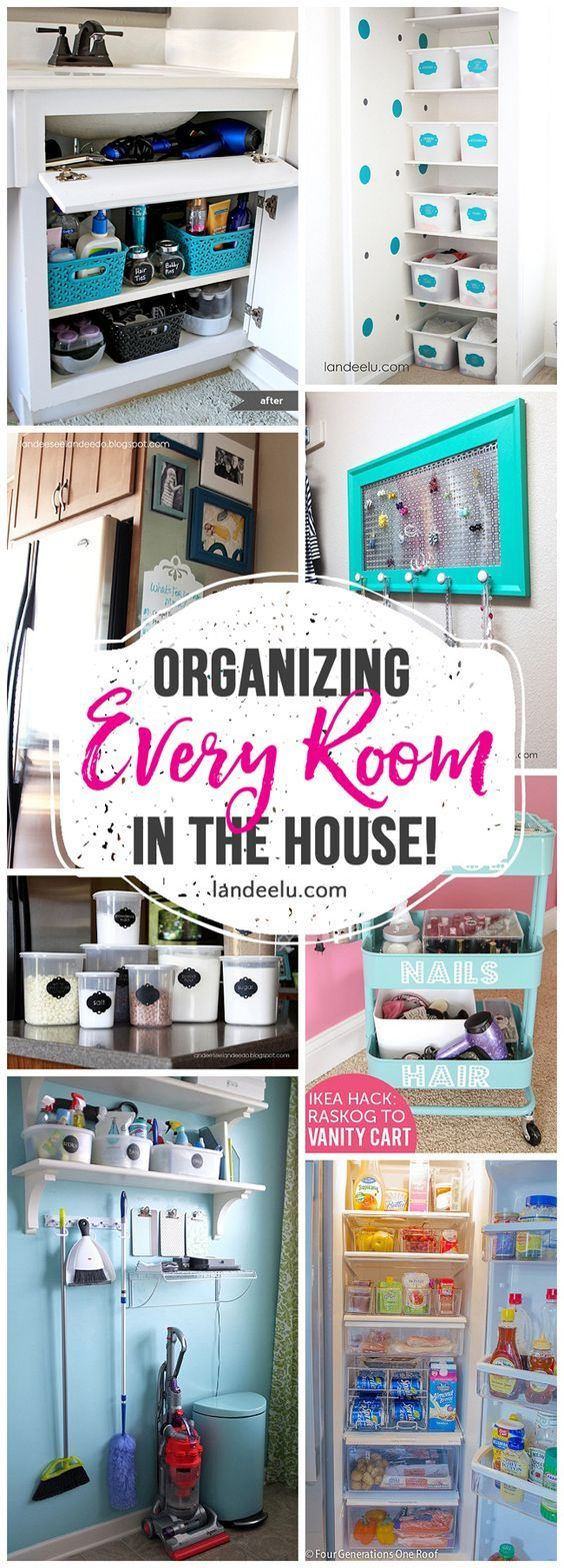 How to Organize Every Room in the House! Tons of great and inexpensive ideas to organize every nook and cranny of your house!  I always LOVE organization ideas!