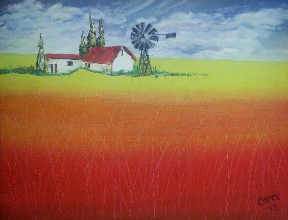 Windmill scene by Caren. Oils.