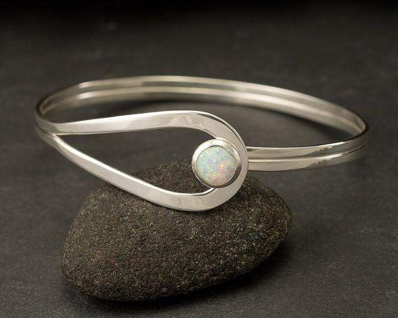 Sterling Silver Opal Bracelet Sterling Silver Latch by Artulia