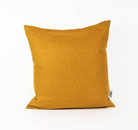 MUSTARD CUSHION - MUSTARD YELLOW DECOR - MID CENTURY PILLOW  This Mustard pillow cover is sewn from a high quality European hypoallergenic linen. Apart from its beautiful look it is natural, do not harm the environment and it is durable as well. Classic but modern home decor piece. Ideal for kids rooms as well! Back side of the cover is White European linen!  D E T A I L S  *FABRIC and COLOUR: Front: 100% Eco friendly Linen (Mustard). Back: 100% Eco friendly Linen (White). !!!Ideal fabric…