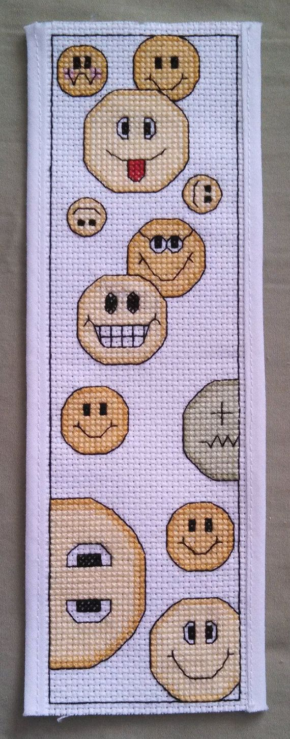 Cross Stitch Pattern Bookmark Smiley Faces Downloadable