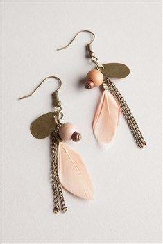 Boucles d'oreilles plumes fantaisies