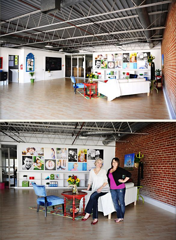 Studio showcase on the Reverie Blog! http://www.reveriemine.comWall Collage, Dreams Studios, Studio Spaces, Studios Spaces, Open Spaces, Bricks Wall, Brick Walls, Photos Display, Photography Studios
