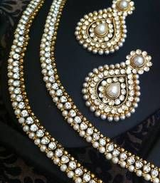 Buy Combo :White diamentes pearl payal anklet & glowing pearl Indian earring ASEAZ004WH anklet online