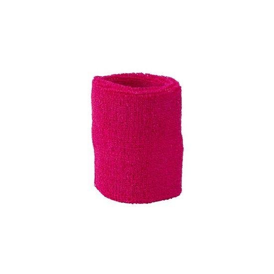 Fuchsia roze zweetbandje voor de pols. De zweetbandjes zijn 8 cm breed. Materiaal: 80% katoen en 20% elasthan. Gekleurde zweetbandjes voor een sportdag of evenement. Verkoop is per stuk!