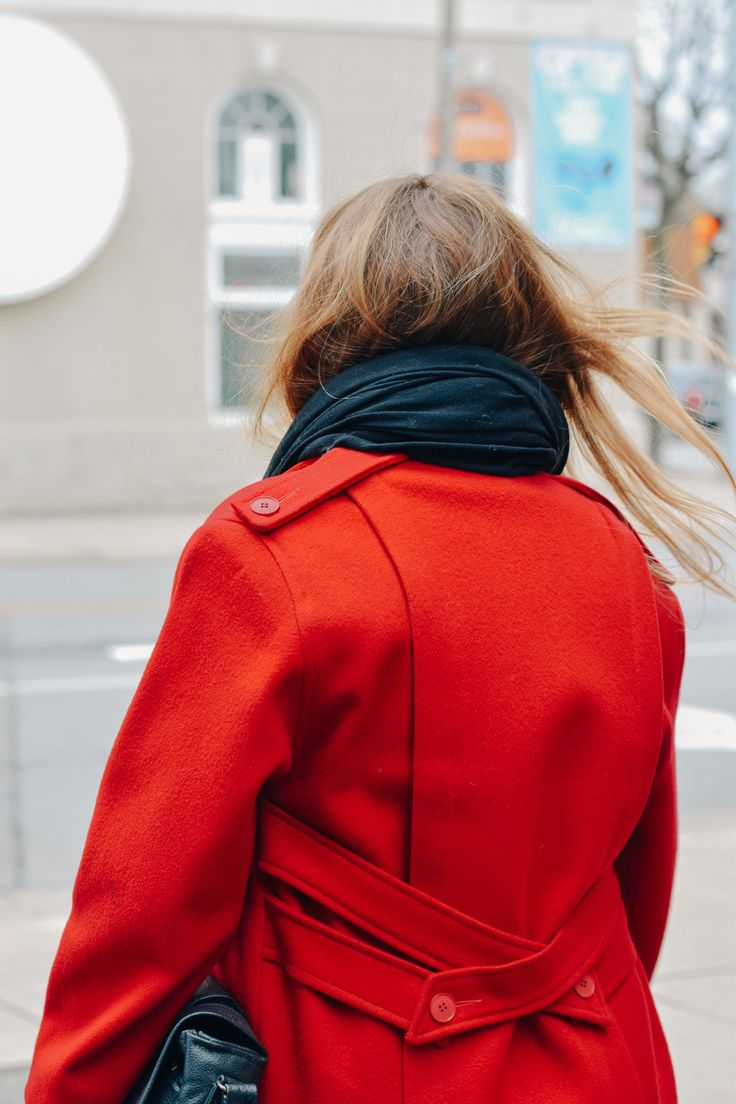 Red Pea Coat for Winter