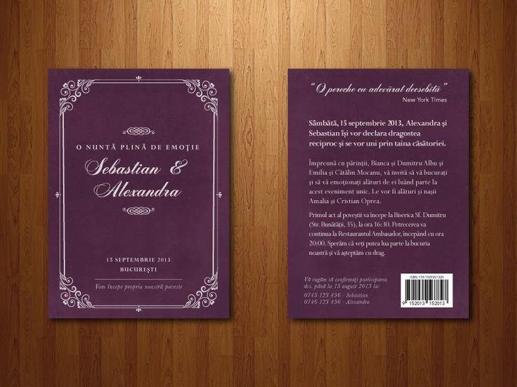"""Invitație tip """"carte"""", format A6 (105 x 148 mm)."""
