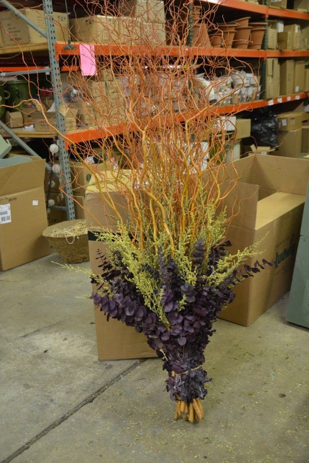 winter-container-centerpiece.jpg green preserved leptospermum, copper curly willow, purple preserved eucalyptus