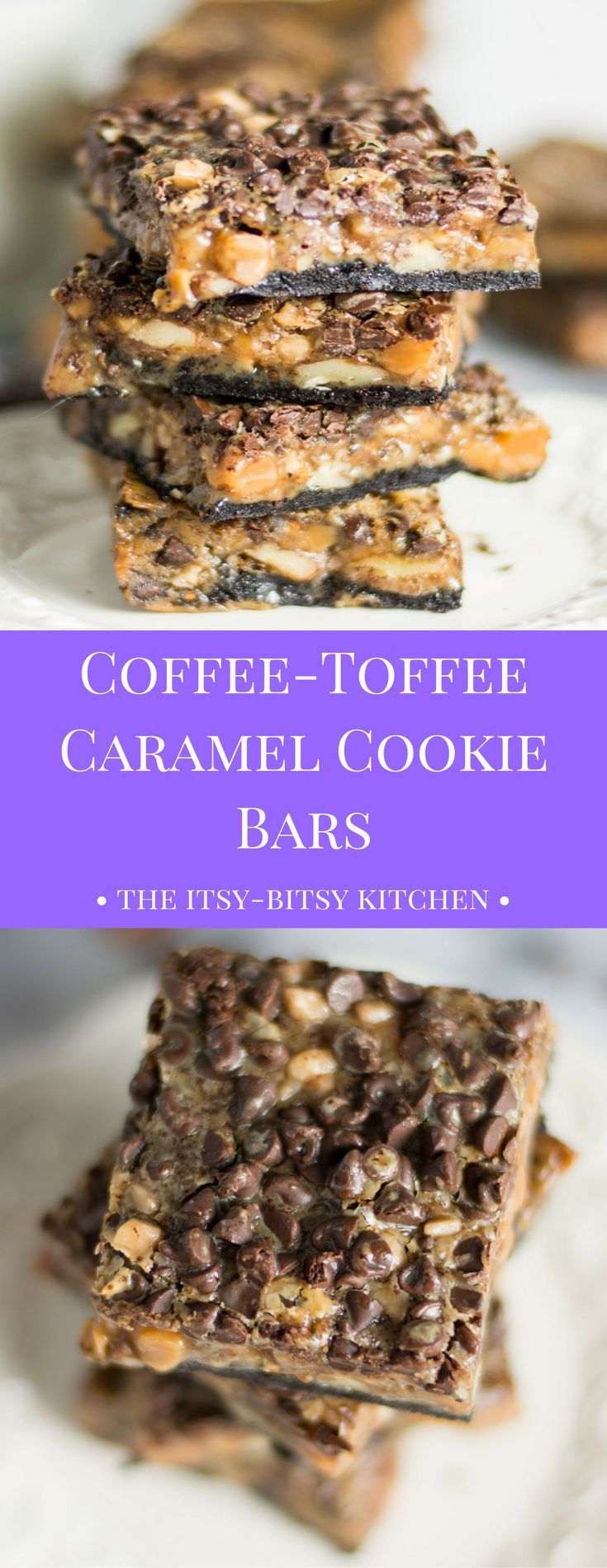 Coffee-toffee caramel cookie bars are the adult version of a magic bar--gooey, dreamy, perfectly sweet--and caffeinated!