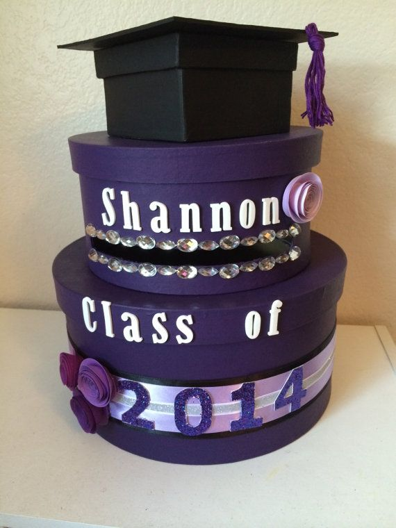 Custom Two Tiered Round Purple Graduation Card Box on Etsy, $50.00