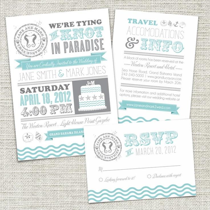 Vintage strand huwelijks uitnodiging