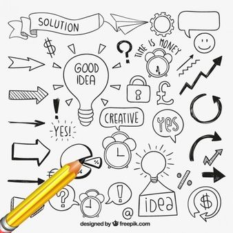 Desenhadas mão elementos de idéias