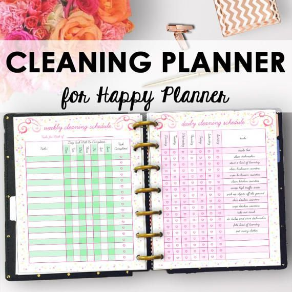Cleaning Schedule and Home Organizer Planner Printables sized for Happy Planner! The Cleaning Planner Printable is designed to guide you in a deep clean, as well as assist with your regular housekeeping routine. Use the deep cleaning guide as a cleaning checklist for a total sweep down of your home. Use the Chore Tracker as a cleaning printable for your kids to track responsibilities and rewards for accomplishing chores. Also included is a pre-listed daily cleaning planner and weekly cleanin...