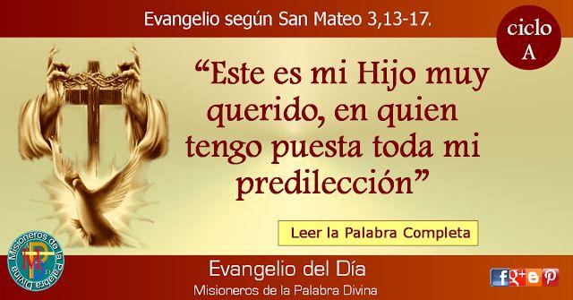 MISIONEROS DE LA PALABRA DIVINA: EVANGELIO - SAN MATEO 3,13-17