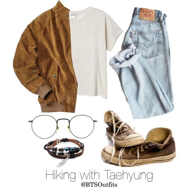 Hiking with Taehyung by btsoutfits on Polyvore featuring mode, Monki, Degs & Sal and Converse