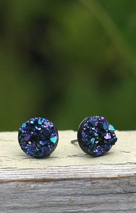 Faux Druzy Stud Earrings. Blue Purple and Black