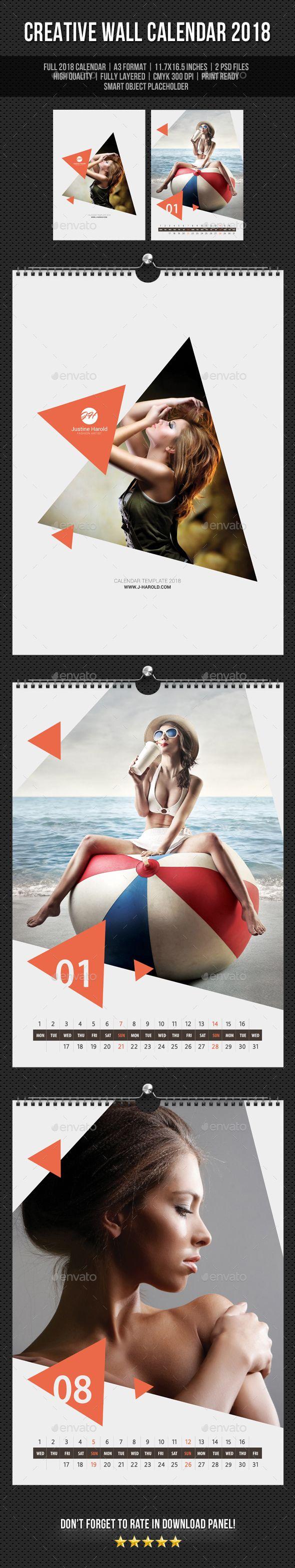 #Creative #Wall #Calendar #template #2018 V19 - Calendars Stationery #design. download: https://graphicriver.net/item/creative-wall-calendar-2018-v19/20287394?ref=yinkira