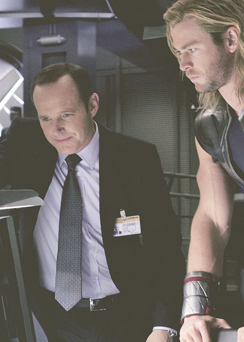 Coulson and Thor #TheAvengers This is the scene where Thor asks about how Jane is.