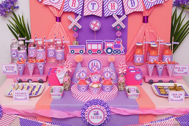 Train Party for a Girl Birthday! See more party ideas at CatchMyParty.com! #train #partyideas